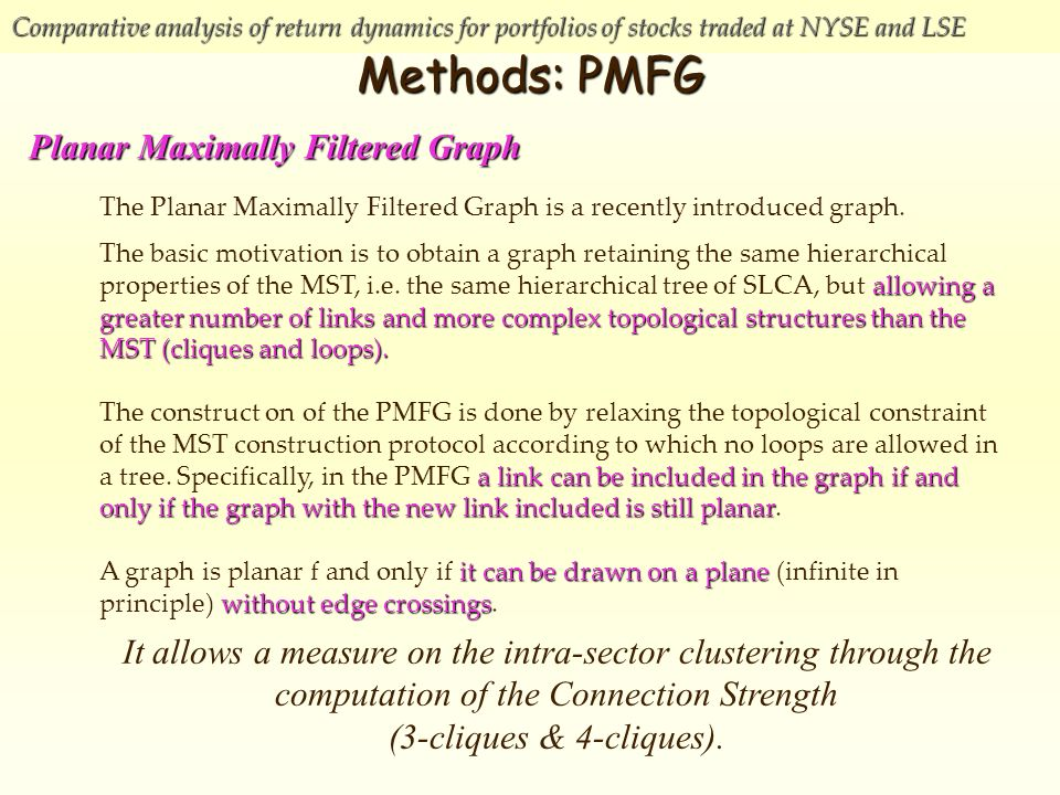 Comparative analysis of return dynamics for portfolios of stocks traded at NYSE and LSE Methods: PMFG The Planar Maximally Filtered Graph is a recently introduced graph.