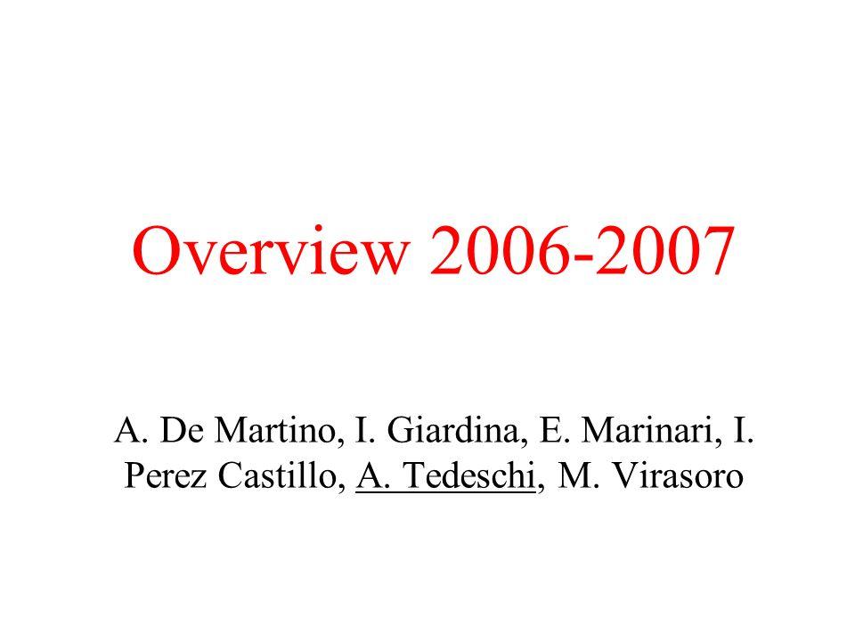 Overview 2006-2007 A. De Martino, I. Giardina, E.