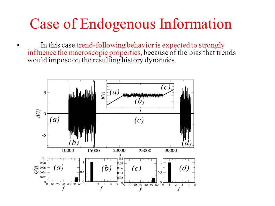 Case of Endogenous Information In this case trend-following behavior is expected to strongly influence the macroscopic properties, because of the bias