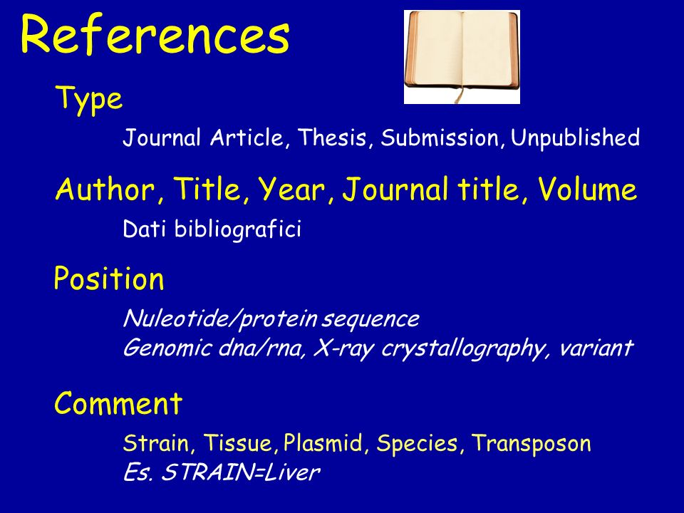 References Position Nuleotide/protein sequence Genomic dna/rna, X-ray crystallography, variant Comment Strain, Tissue, Plasmid, Species, Transposon Es.