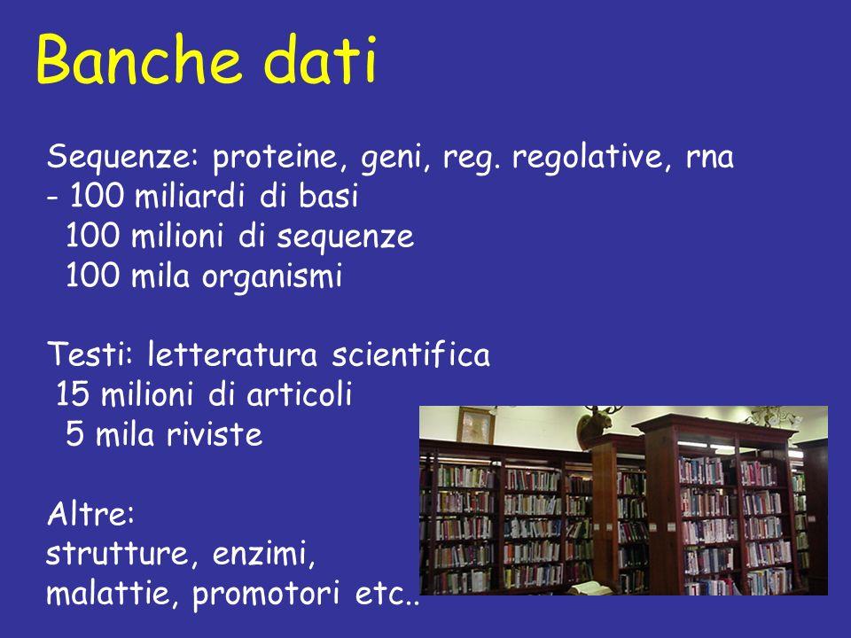 Banche dati Sequenze: proteine, geni, reg.