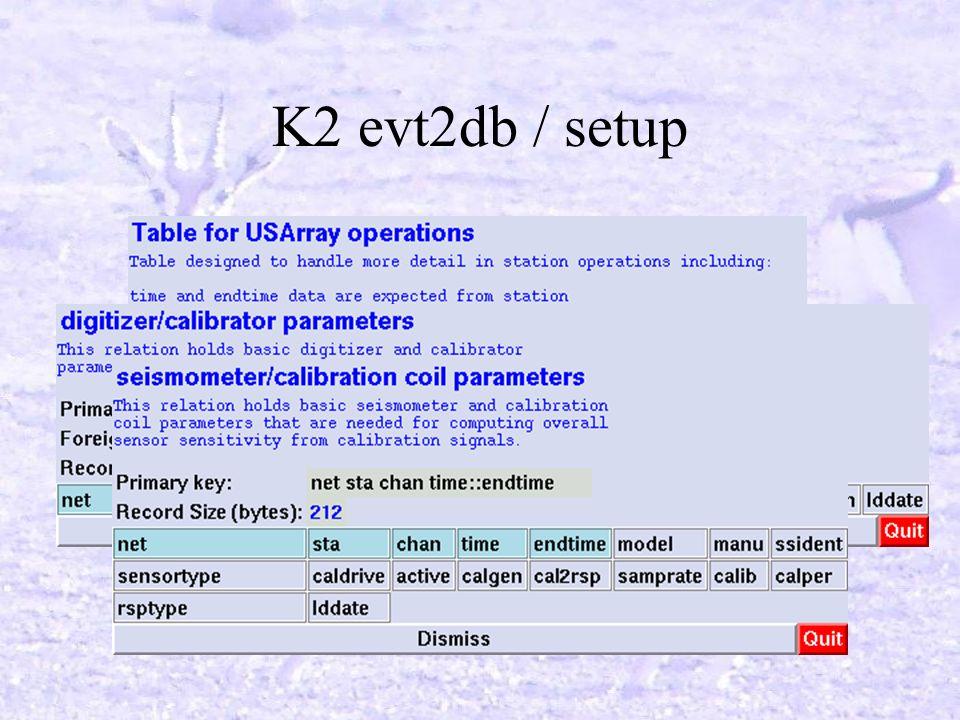 K2 evt2db / setup