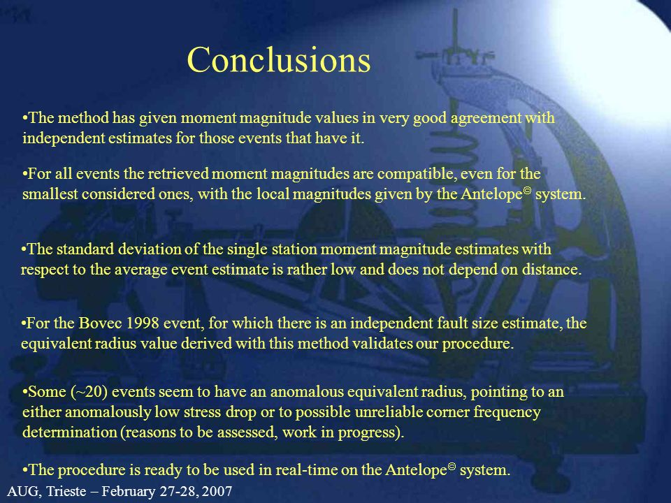 Conclusions The method has given moment magnitude values in very good agreement with independent estimates for those events that have it. For all even