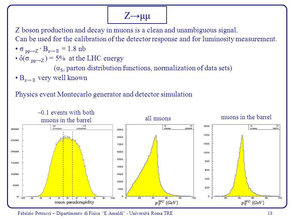 18Fabrizio Petrucci – Dipartimento di Fisica E.Amaldi - Università Roma TRE Zμμ Z boson production and decay in muons is a clean and unambiguous signa