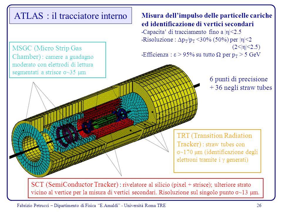 26 ATLAS : il tracciatore interno Misura dellimpulso delle particelle cariche ed identificazione di vertici secondari Capacita di tracciamento fino a
