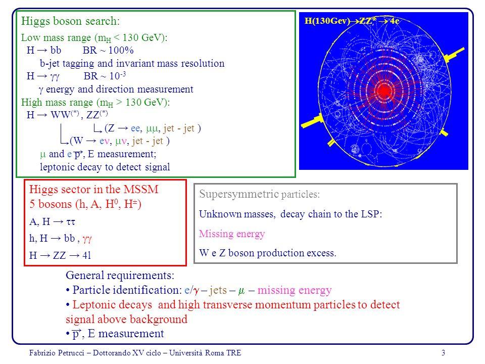 Fabrizio Petrucci – Dottorando XV ciclo – Università Roma TRE3 Higgs boson search: Low mass range (m H < 130 GeV): H bb BR ~ 100% b-jet tagging and in