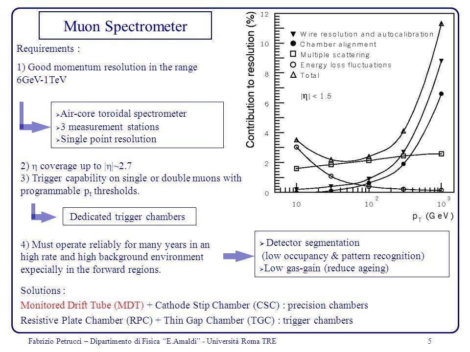 5 Muon Spectrometer Requirements : 1) Good momentum resolution in the range 6GeV-1TeV Solutions : Monitored Drift Tube (MDT) + Cathode Stip Chamber (C