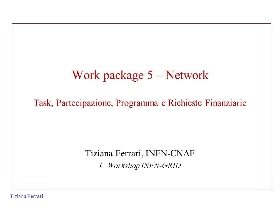 Tiziana Ferrari Work package 5 – Network Task, Partecipazione, Programma e Richieste Finanziarie Tiziana Ferrari, INFN-CNAF I Workshop INFN-GRID