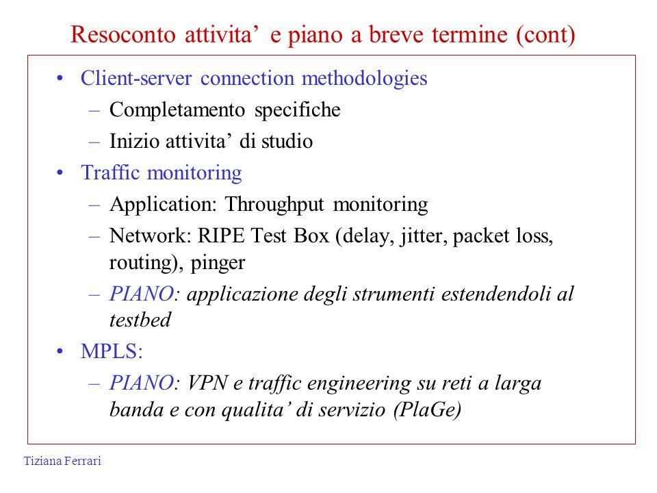 Tiziana Ferrari Client-server connection methodologies –Completamento specifiche –Inizio attivita di studio Traffic monitoring –Application: Throughpu