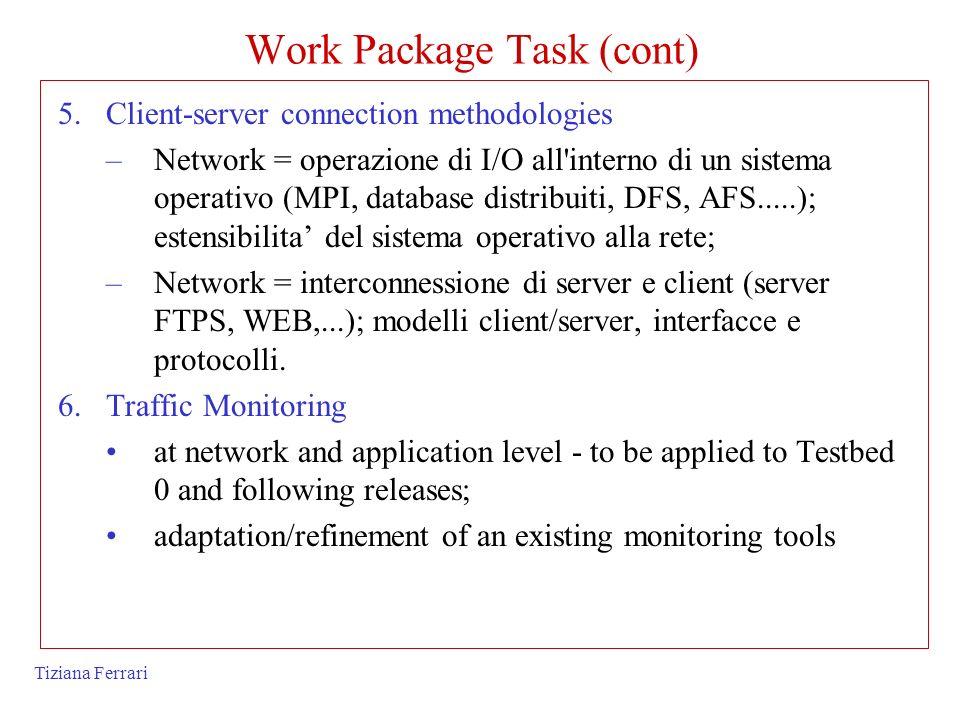 Tiziana Ferrari Work Package Task (cont) 5.Client-server connection methodologies –Network = operazione di I/O all'interno di un sistema operativo (MP