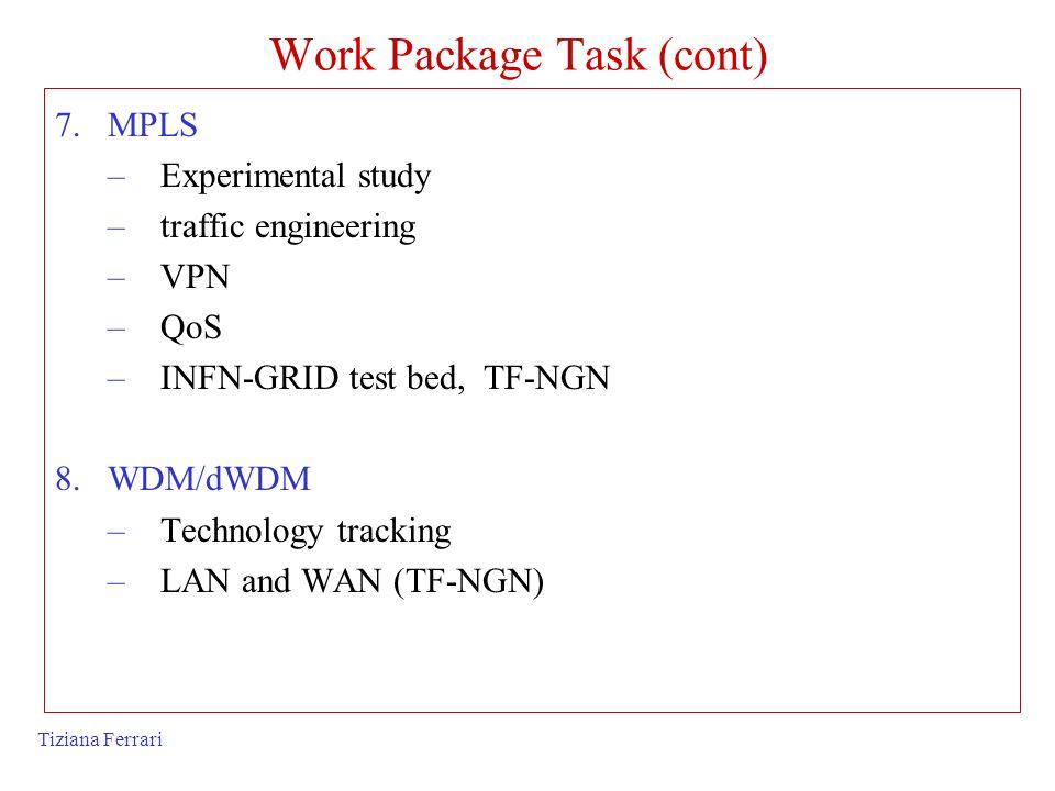 Tiziana Ferrari Work Package Task (cont) 7.MPLS –Experimental study –traffic engineering –VPN –QoS –INFN-GRID test bed, TF-NGN 8.WDM/dWDM –Technology