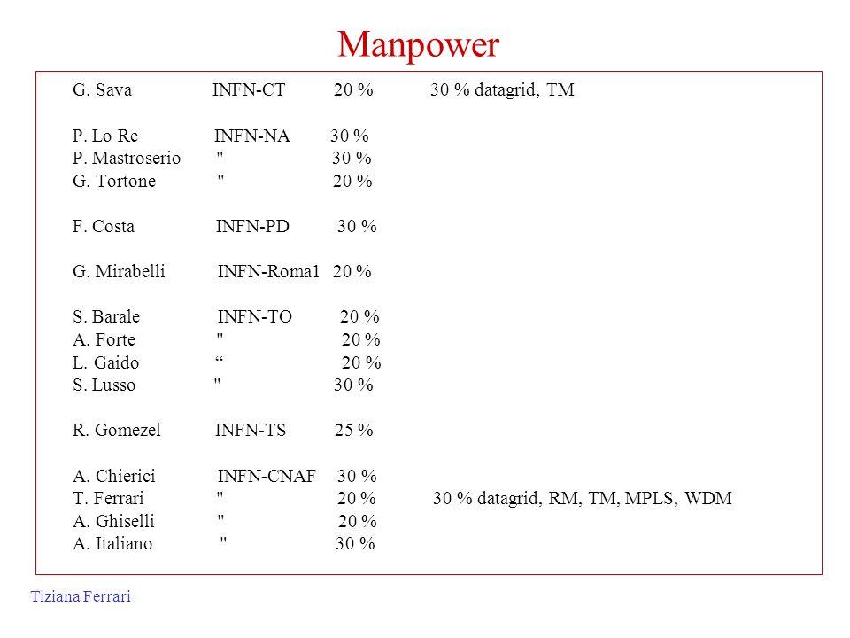 Tiziana Ferrari Manpower G. Sava INFN-CT 20 % 30 % datagrid, TM P. Lo Re INFN-NA 30 % P. Mastroserio