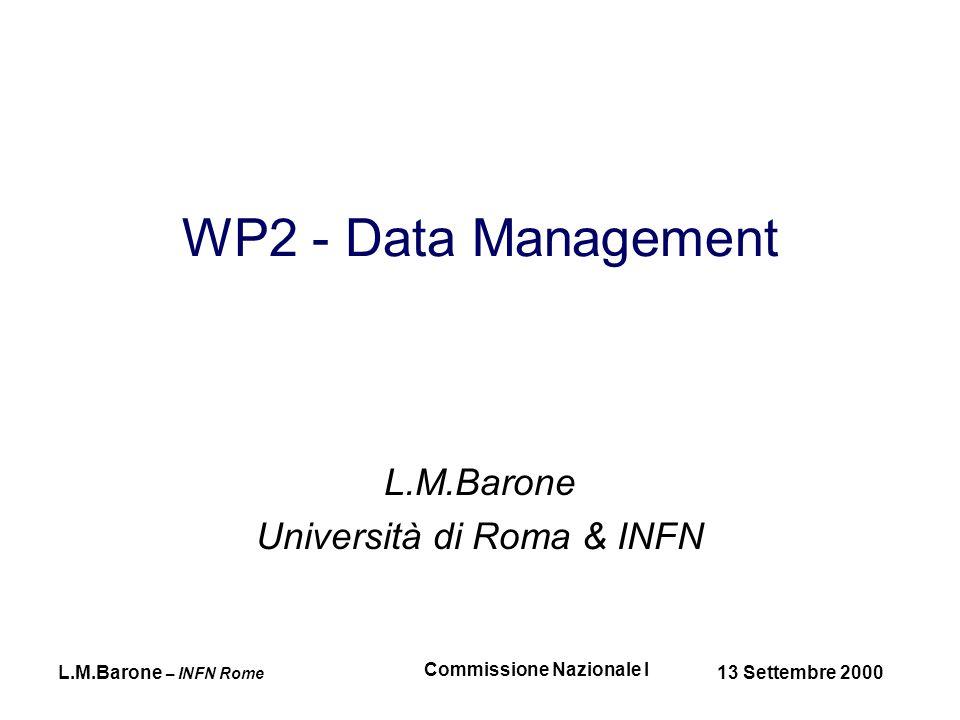 L.M.Barone – INFN Rome 13 Settembre 2000 Commissione Nazionale I RC1Prod DB4 DB4 RC1Ref pc.rc1.net CERN CERNFD DB1 DB2 DB3 DB4 0001 DB1.DB shift.cern.ch::/shift/data 0002 DB2.DB shift.cern.ch::/shift/data 0003 DB3.DB shift.cern.ch::/shift/data 0004 DB4.DB pc.rc1.net::/pc/data shift.cern.ch::/shift/data 0005 Database creation DB5 DB5 DB5 DB5 0001 DB1.DB shift.cern.ch::/shift/data 0002 DB2.DB shift.cern.ch::/shift/data 0003 DB3.DB shift.cern.ch::/shift/data 0004 DB4.DB pc.rc1.net::/pc/data shift.cern.ch::/shift/data 0005 DB5.DB pc.rc1.net::/pc.data 0001 DB1.DB shift.cern.ch::/shift/data 0002 DB2.DB shift.cern.ch::/shift/data 0003 DB3.DB shift.cern.ch::/shift/data 0004 DB4.DB pc.rc1.net::/pc/data shift.cern.ch::/shift/data 0005 DB5.db pc.rc1.net::/ps.data shift.cern.ch::/shift/data shift.cern.ch
