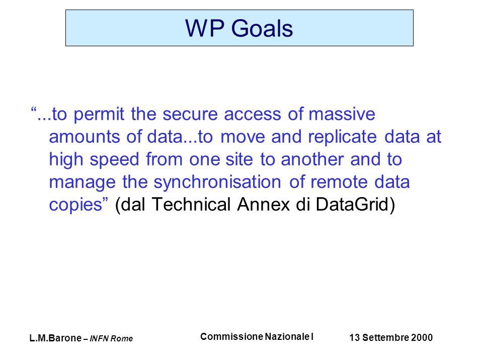 L.M.Barone – INFN Rome 13 Settembre 2000 Commissione Nazionale I 0001 DB1.DB shift.cern.ch::/shift/data pc1.bo.infn.it::/data 0002 DB2.DB shift.cern.ch::/shift/data 0003 DB3.DB shift.cern.ch::/shift/data 0001 DB1.DB shift.cern.ch::/shift/data pc1.bo.infn.it::/data 0002 DB2.DB shift.cern.ch::/shift/data pc1.bo.infn.it::/data 0003 DB3.DB shift.cern.ch::/shift/data Replica Management CERN CERNFD DB1 DB2 DB3 BORef shift.cern.ch pc1.bo.infn.it PDRef pc1.pd.infn.it DB1 DB2
