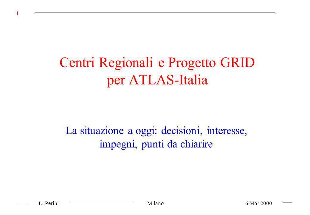 L. Perini Milano 6 Mar 2000 1 Centri Regionali e Progetto GRID per ATLAS-Italia La situazione a oggi: decisioni, interesse, impegni, punti da chiarire