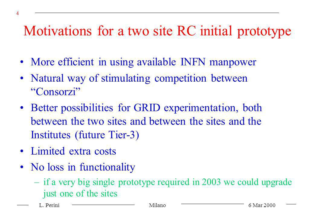 L. Perini Milano 6 Mar 2000 4 Motivations for a two site RC initial prototype More efficient in using available INFN manpower Natural way of stimulati