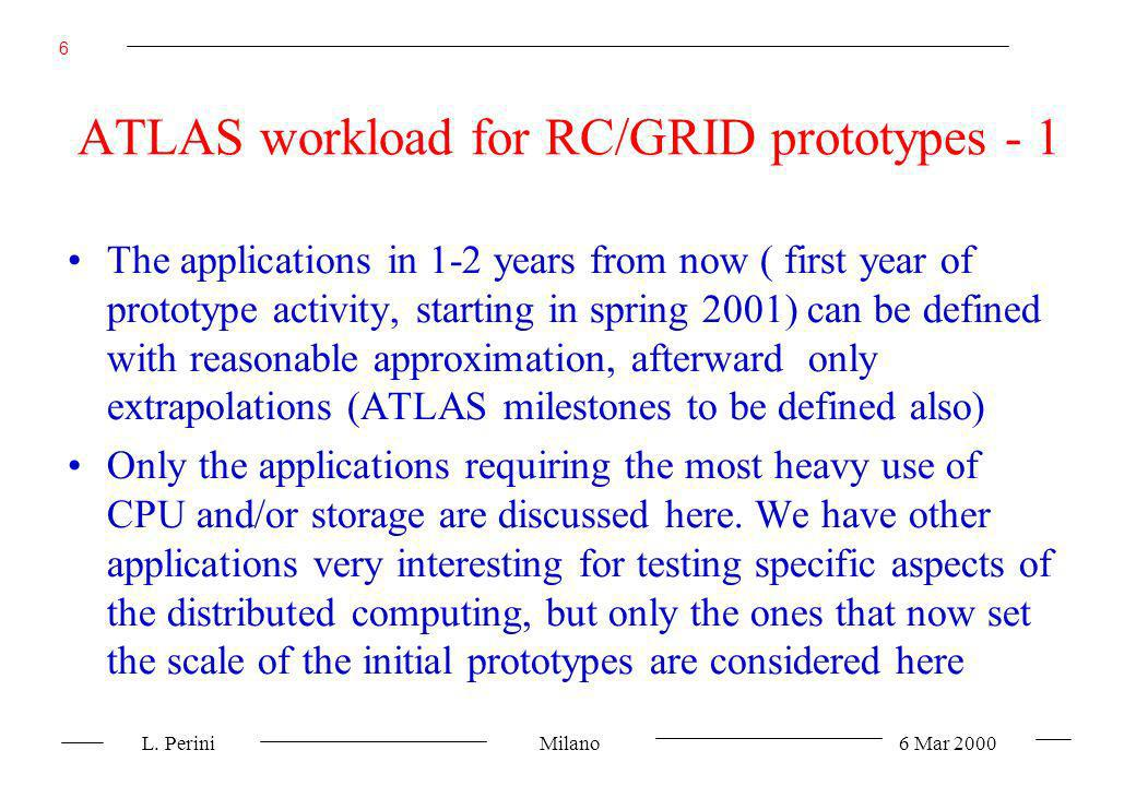 L. Perini Milano 6 Mar 2000 6 ATLAS workload for RC/GRID prototypes - 1 The applications in 1-2 years from now ( first year of prototype activity, sta