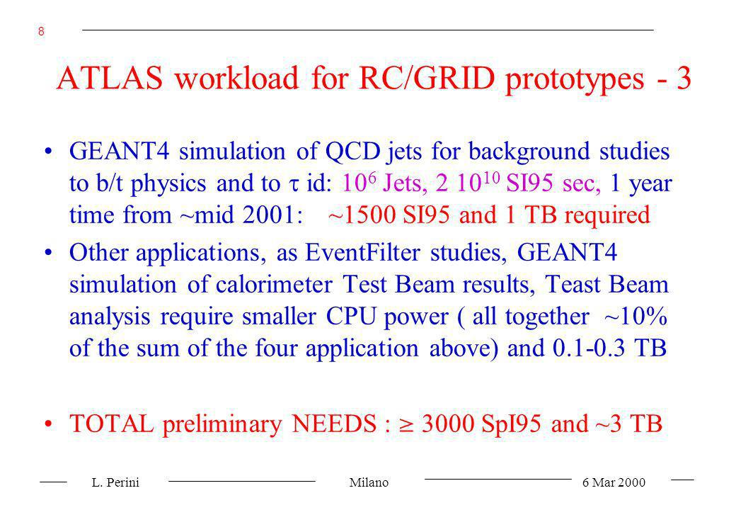 L. Perini Milano 6 Mar 2000 8 ATLAS workload for RC/GRID prototypes - 3 GEANT4 simulation of QCD jets for background studies to b/t physics and to id: