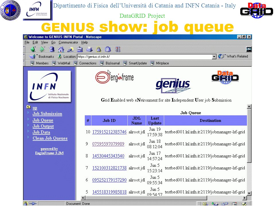 Roberto Barbera GENIUS show: job queue Dipartimento di Fisica dellUniversità di Catania and INFN Catania - Italy DataGRID Project