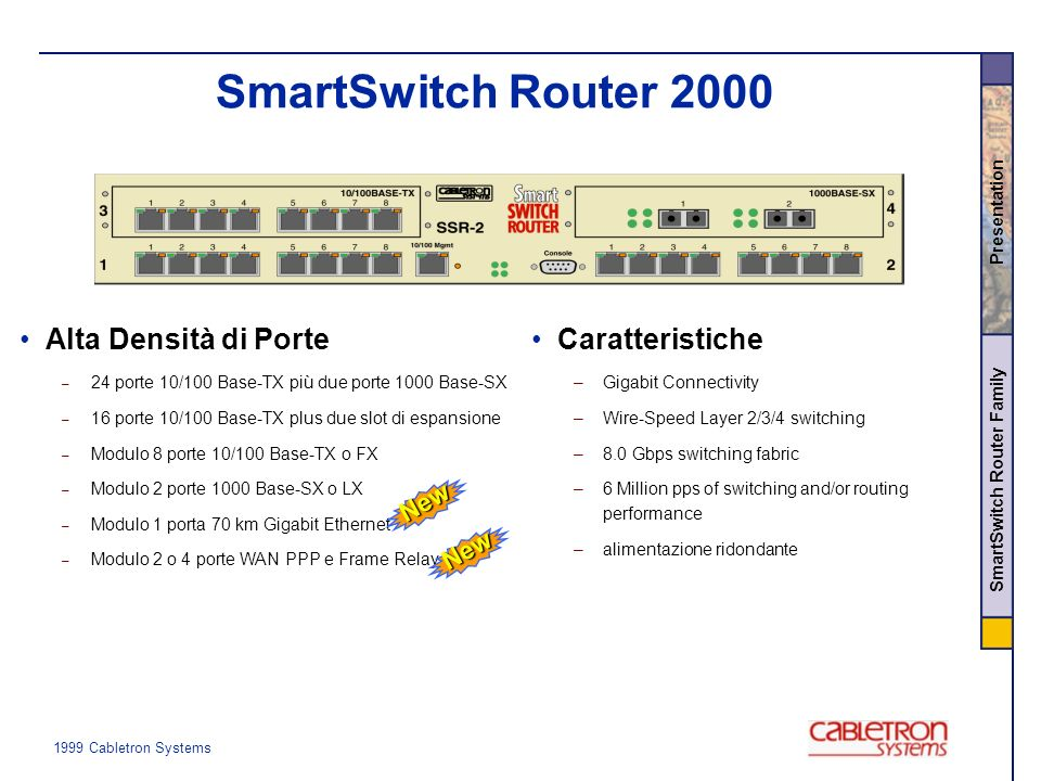 1999 Cabletron Systems SmartSwitch Router Family Presentation Wire-speed switching e routing IP/IPX Certificato da istituti indipendenti –15 MPPS, 16 Gbps –L2 Switching –L3 Routing –L4 Policy and Accounting Caratteristiche –56 10/100 Porte Fast Ethernet –14 Porte Gigabit Ethernet –70 km Gigabit Ethernet –Frame Relay e PPP fino a T3/E3 –Supporto per ATM & SONET –Ridondanza Fisicca e Logica SmartSwitch Router 8000 New New New