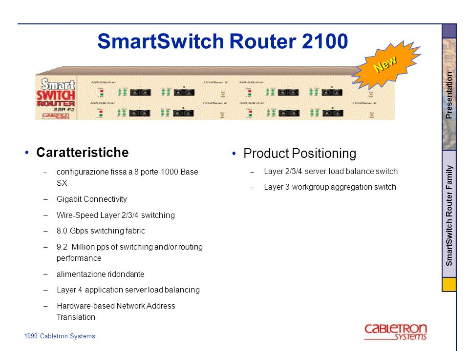 1999 Cabletron Systems SmartSwitch Router Family Presentation PerformanceCapacityFunctionalityManageability SSR 2000 Caratteristiche delle SmartSwitch Router IP, IPX, RIP OSPF, BGP-4 Standards-based multicast Access Control Lists - 6 Million pps - Wire Speed w/ Features Enabled 10/100: 32 Gig: 2 Routes: 10,000 VLANs: 4,096 L4 Flows: 128,000 Full RMON/RMON2 Web-based support Cisco CLI SSR 2100 15 Mpps 16 Gbps Wire Speed w/ Features Enabled Tolly, Bradner verified 30 Mpps 32 Gbps Wire Speed w/ Features Enabled Tolly verified SSR 8000 Multivendor Transport Mgt.