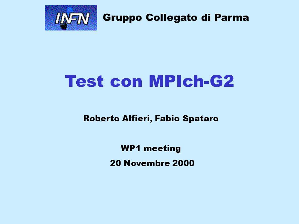 Test con MPIch-G2 Roberto Alfieri, Fabio Spataro WP1 meeting 20 Novembre 2000 Gruppo Collegato di Parma