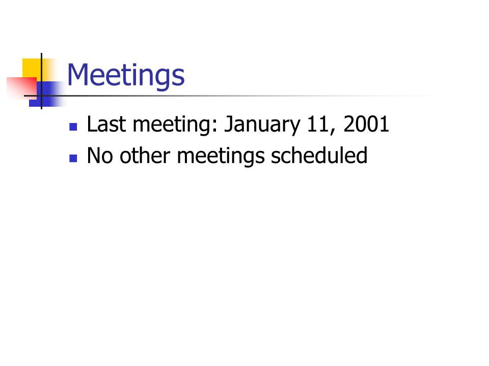 Meetings Last meeting: January 11, 2001 No other meetings scheduled