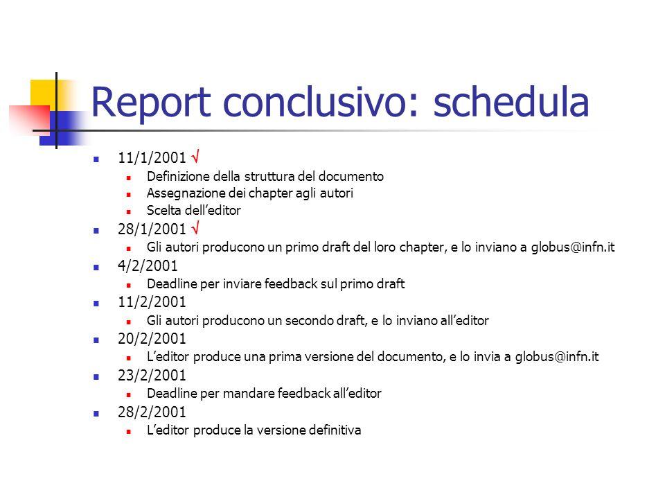 Report conclusivo: schedula 11/1/2001 Definizione della struttura del documento Assegnazione dei chapter agli autori Scelta delleditor 28/1/2001 Gli autori producono un primo draft del loro chapter, e lo inviano a globus@infn.it 4/2/2001 Deadline per inviare feedback sul primo draft 11/2/2001 Gli autori producono un secondo draft, e lo inviano alleditor 20/2/2001 Leditor produce una prima versione del documento, e lo invia a globus@infn.it 23/2/2001 Deadline per mandare feedback alleditor 28/2/2001 Leditor produce la versione definitiva