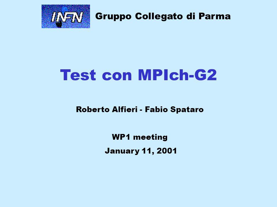 Test con MPIch-G2 Roberto Alfieri - Fabio Spataro WP1 meeting January 11, 2001 Gruppo Collegato di Parma