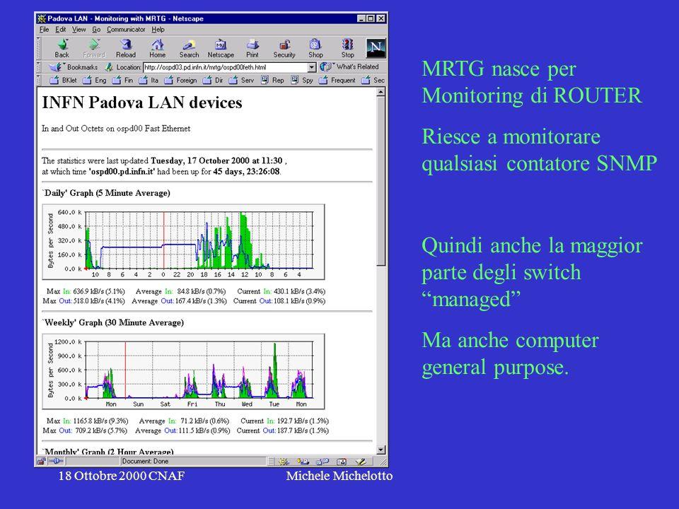 18 Ottobre 2000 CNAFMichele Michelotto MRTG nasce per Monitoring di ROUTER Riesce a monitorare qualsiasi contatore SNMP Quindi anche la maggior parte degli switch managed Ma anche computer general purpose.
