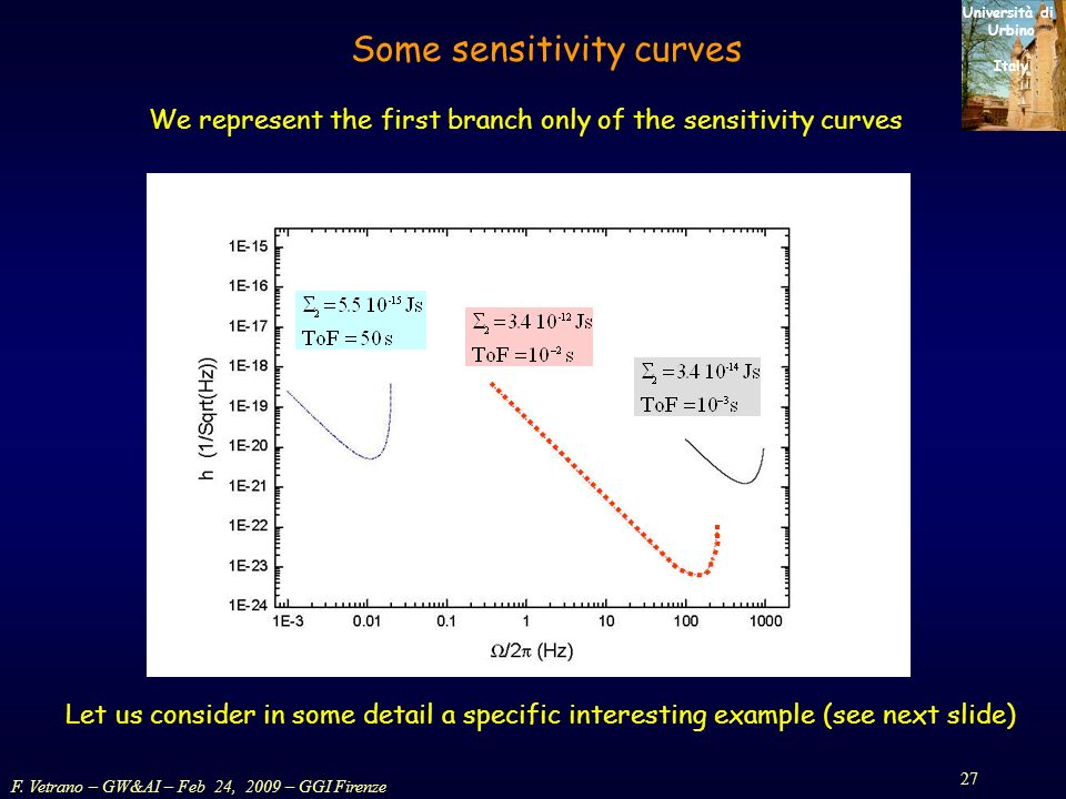 F. Vetrano – GW&AI – Feb 24, 2009 – GGI Firenze 27 Università di Urbino Italy Some sensitivity curves We represent the first branch only of the sensit