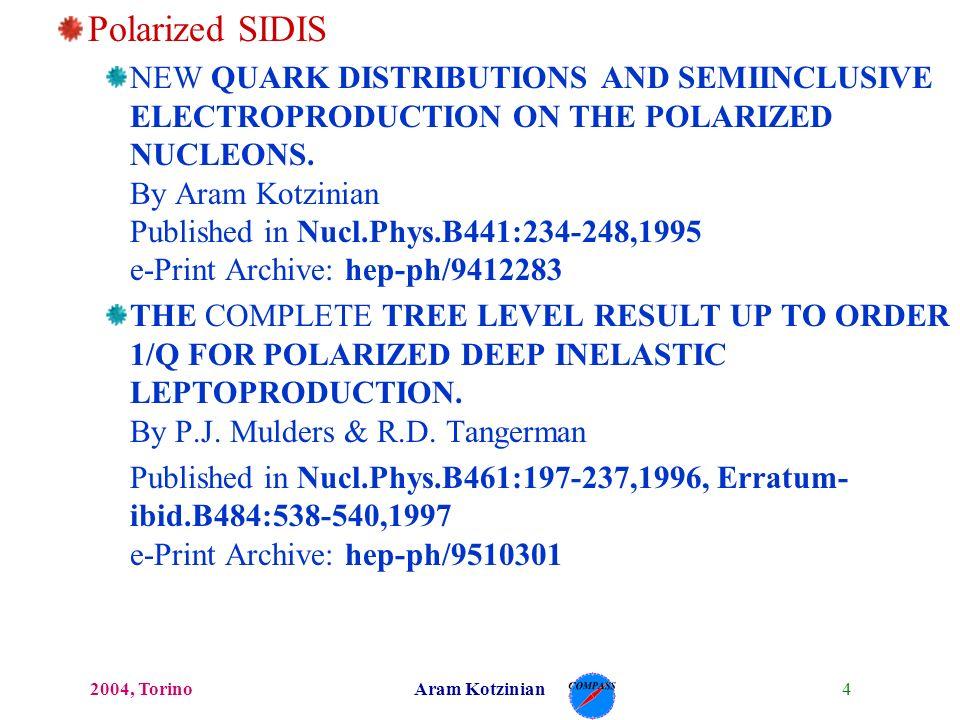 42004, TorinoAram Kotzinian Polarized SIDIS NEW QUARK DISTRIBUTIONS AND SEMIINCLUSIVE ELECTROPRODUCTION ON THE POLARIZED NUCLEONS.