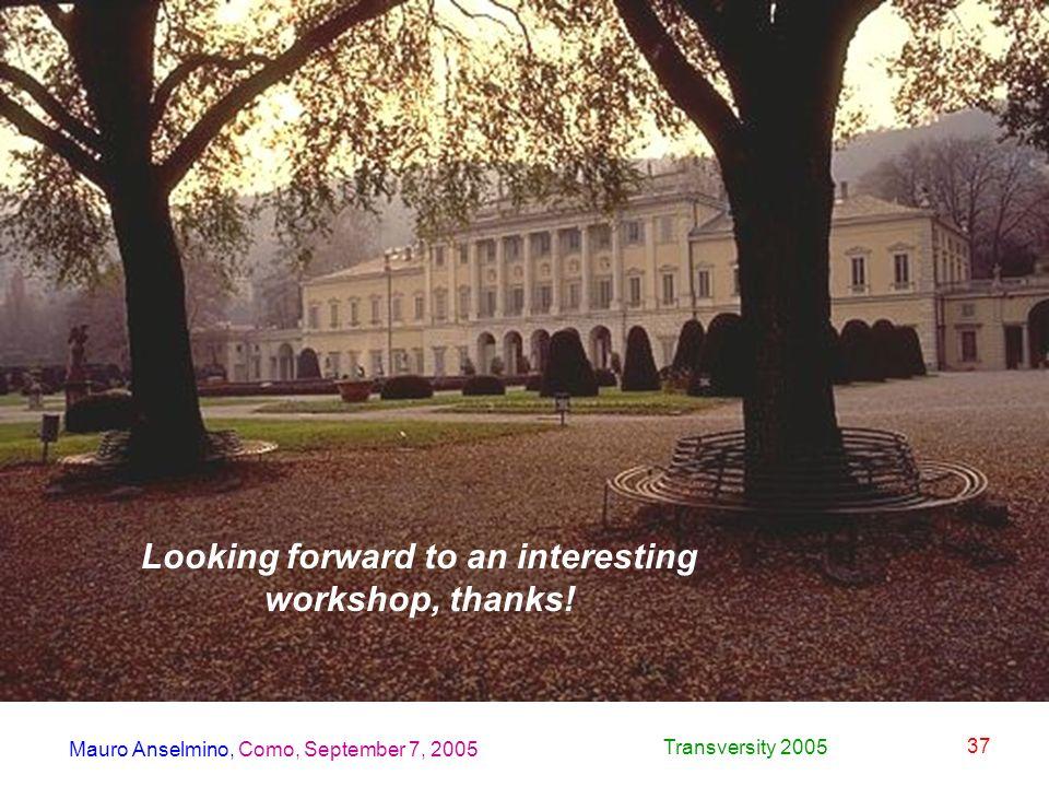 Mauro Anselmino, Como, September 7, 2005 Transversity 2005 37 Looking forward to an interesting workshop, thanks!