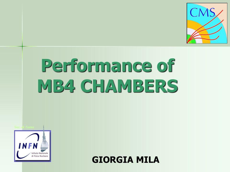Performance of MB4 CHAMBERS GIORGIA MILA Sez. di Torno