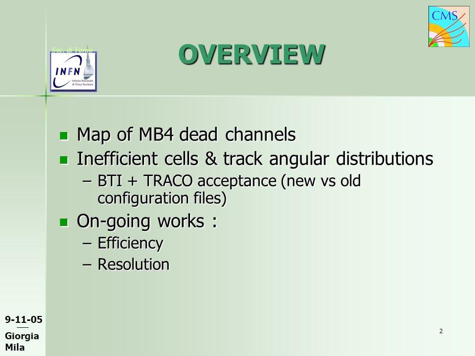 9-11-05 Giorgia Mila Sez. di Torno 2 OVERVIEW Map of MB4 dead channels Map of MB4 dead channels Inefficient cells & track angular distributions Ineffi