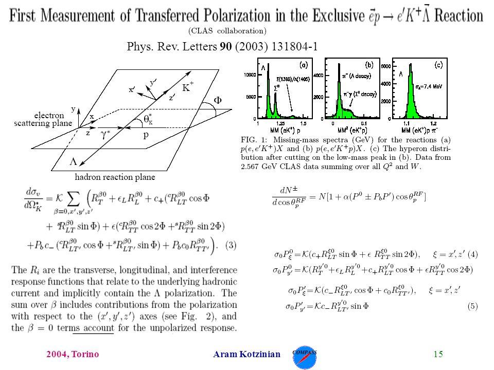 152004, TorinoAram Kotzinian Phys. Rev. Letters 90 (2003) 131804-1