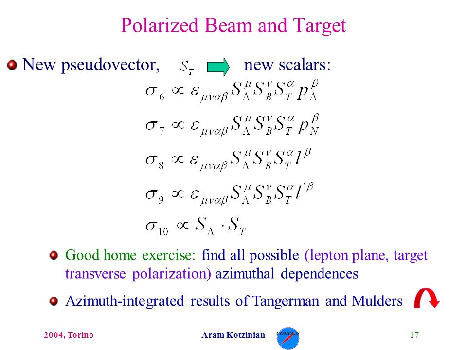 172004, TorinoAram Kotzinian New pseudovector, new scalars: Polarized Beam and Target Good home exercise: find all possible (lepton plane, target transverse polarization) azimuthal dependences Azimuth-integrated results of Tangerman and Mulders