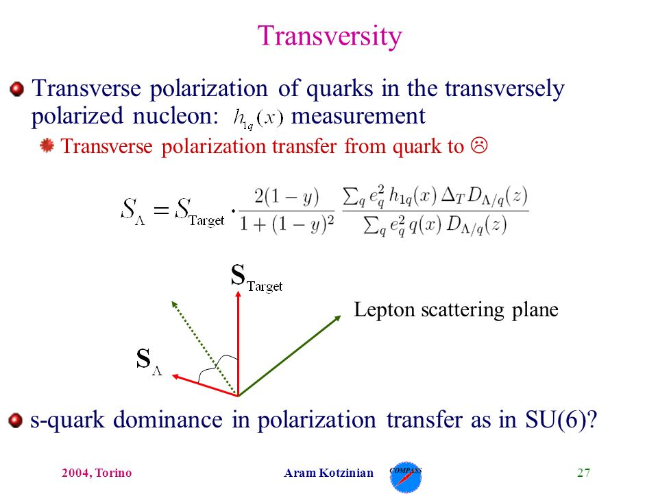 272004, TorinoAram Kotzinian Transverse polarization of quarks in the transversely polarized nucleon: measurement Transverse polarization transfer from quark to L Transversity Lepton scattering plane s-quark dominance in polarization transfer as in SU(6)