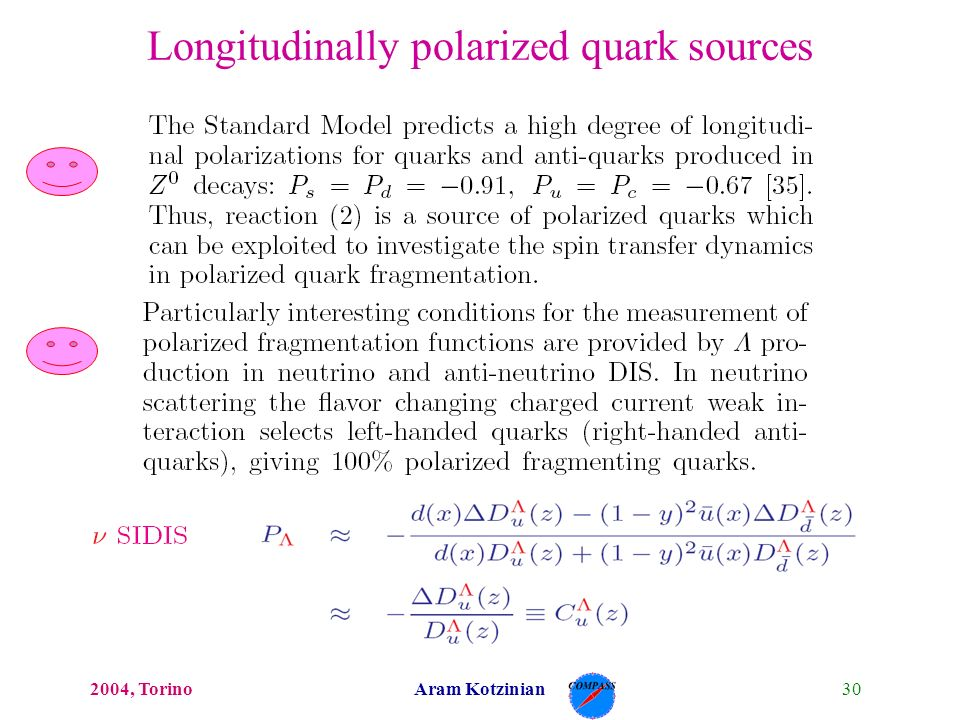 302004, TorinoAram Kotzinian Longitudinally polarized quark sources
