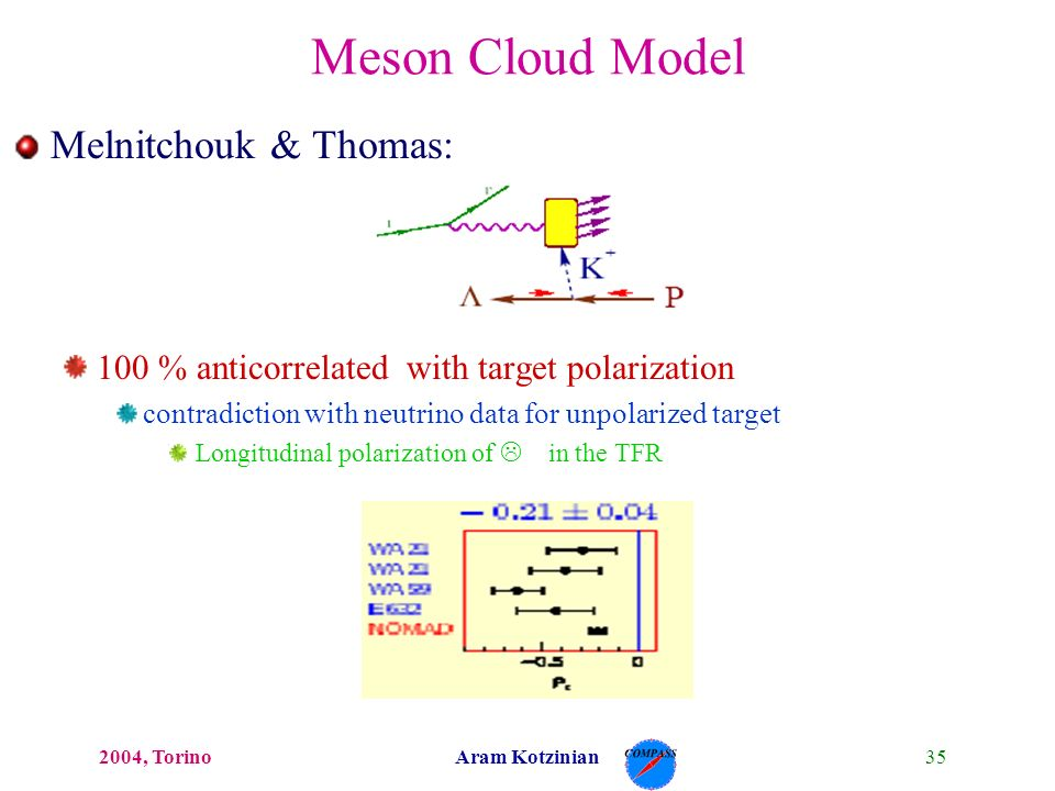 352004, TorinoAram Kotzinian Melnitchouk & Thomas: 100 % anticorrelated with target polarization contradiction with neutrino data for unpolarized target Longitudinal polarization of L in the TFR Meson Cloud Model