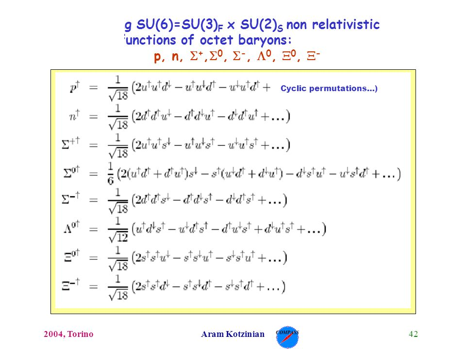 422004, TorinoAram Kotzinian Building SU(6)=SU(3) F x SU(2) S non relativistic wave functions of octet baryons: p, n, +, 0, -, 0, 0, - Cyclic permutat