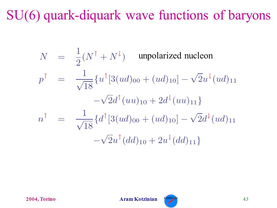 432004, TorinoAram Kotzinian SU(6) quark-diquark wave functions of baryons unpolarized nucleon