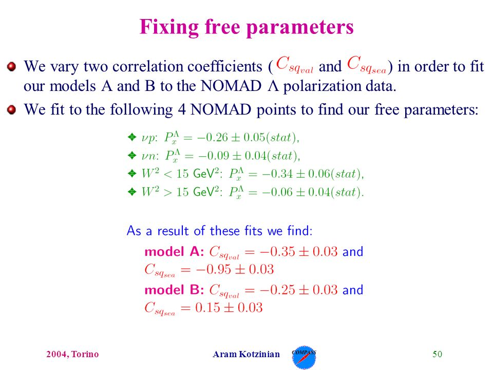 502004, TorinoAram Kotzinian Fixing free parameters We vary two correlation coefficients ( and ) in order to fit our models A and B to the NOMAD Λ polarization data.