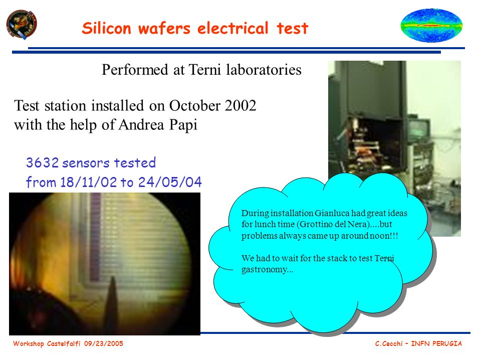 Workshop Castelfalfi 09/23/2005 C.Cecchi – INFN PERUGIA Silicon wafers electrical test 3632 sensors tested from 18/11/02 to 24/05/04 Performed at Terni laboratories Test station installed on October 2002 with the help of Andrea Papi During installation Gianluca had great ideas for lunch time (Grottino del Nera)....but problems always came up around noon!!.