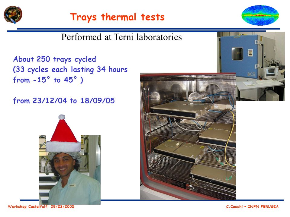 Workshop Castelfalfi 09/23/2005 C.Cecchi – INFN PERUGIA Trays thermal tests Performed at Terni laboratories About 250 trays cycled (33 cycles each lasting 34 hours from -15° to 45° ) from 23/12/04 to 18/09/05