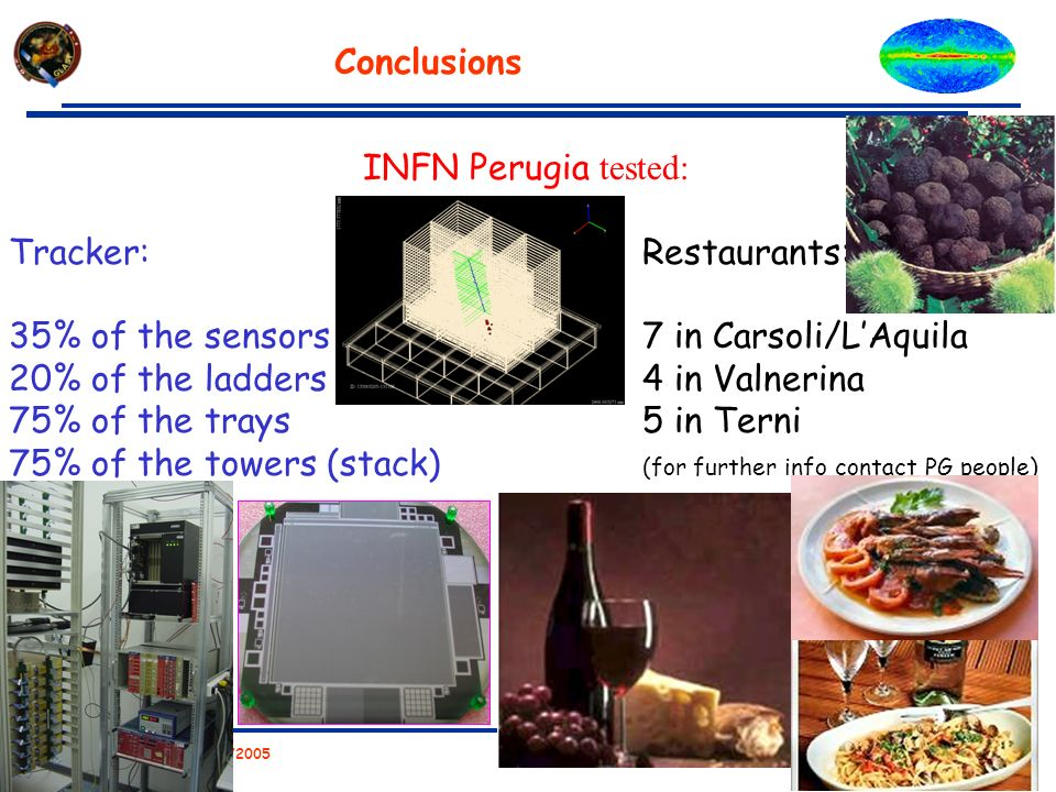 Workshop Castelfalfi 09/23/2005 C.Cecchi – INFN PERUGIA Conclusions INFN Perugia tested: Tracker:Restaurants: 35% of the sensors 7 in Carsoli/LAquila
