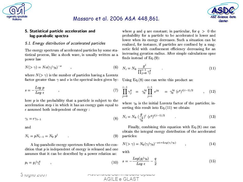 3 luglio 2007 Astrofisica Gamma dallo Spazio AGILE e GLAST Massaro et al. 2006 A&A 448,861.