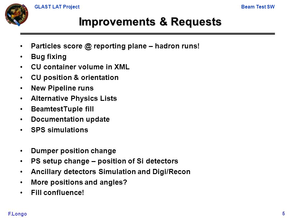 GLAST LAT ProjectBeam Test SW F.Longo5 Improvements & Requests Particles score @ reporting plane – hadron runs.