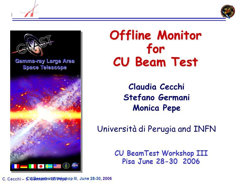 CU Beamtest Workshop III, June 28-30, 2006 C. Cecchi – S. Germani – M. Pepe Offline Monitor for CU Beam Test Claudia Cecchi Stefano Germani Monica Pep
