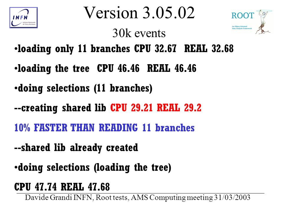 Davide Grandi INFN, Root tests, AMS Computing meeting 31/03/2003 Version 3.05.02 30k events loading only 11 branches CPU 32.67 REAL 32.68 loading the tree CPU 46.46 REAL 46.46 doing selections (11 branches) --creating shared lib CPU 29.21 REAL 29.2 10% FASTER THAN READING 11 branches --shared lib already created doing selections (loading the tree) CPU 47.74 REAL 47.68